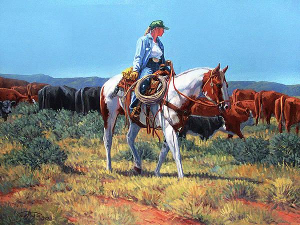 Follis Wall Art - Painting - Working Cowgirl by Randy Follis