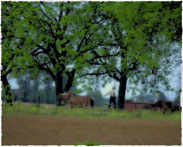 Digital Art - Working The Fence Line by John Feiser