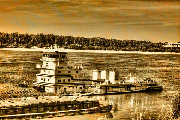 Working The River - Mississippi River Art Print