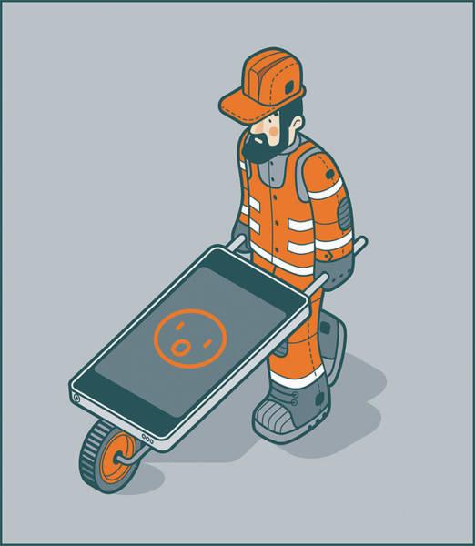 Tweets Photograph - Workman Pushing Smart Phone Wheelbarrow by Ikon Images