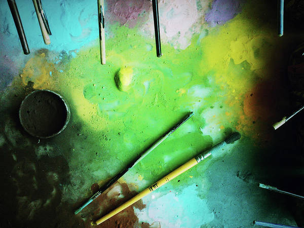 Messy Photograph - Workplace Dyes Brushes by Rudolf Vlcek
