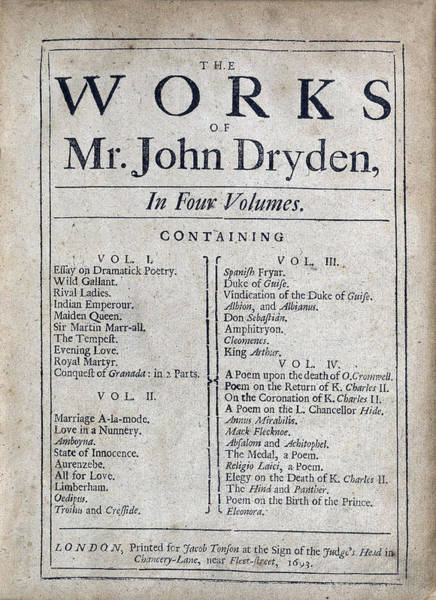John Dryden Wall Art - Photograph - Works Of John Dryden, Title Page, 1693 by Folger Shakespeare Library