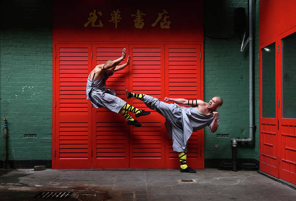 Offbeat Photograph - World Famous Shaolin Monks Come To by Carl Court