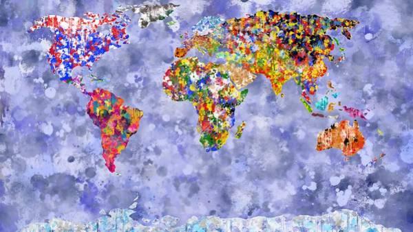 Digital Art - World In Colour On Hazy Blue by Mark Taylor