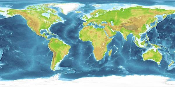 Noaa Chart Wall Art - Photograph - World Land And Sea Floor Topography by Planetary Visions Ltd/science Photo Library
