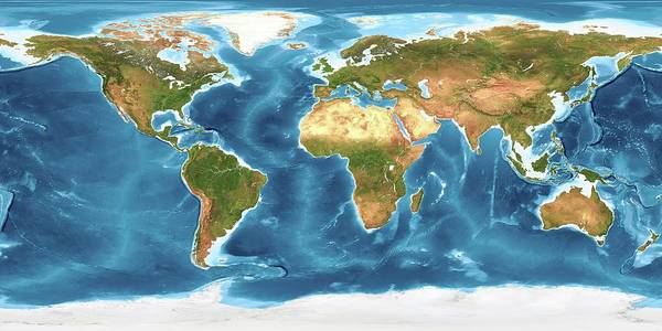 Noaa Chart Wall Art - Photograph - World Land Cover And Sea Floor Topography by Planetary Visions Ltd/science Photo Library