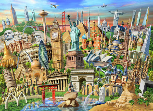 Wall Art - Drawing - World Landmarks Collection by MGL Meiklejohn Graphics Licensing