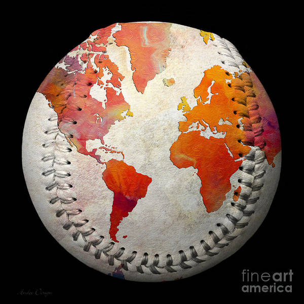 Digital Art - World Map - Rainbow Passion Baseball Square by Andee Design
