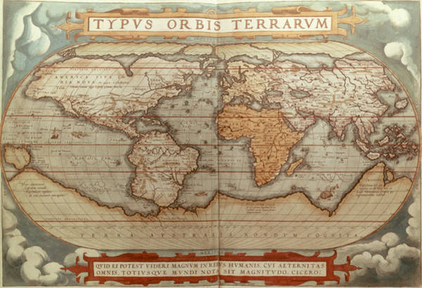 Wall Art - Painting - World Map, 1570 by Granger