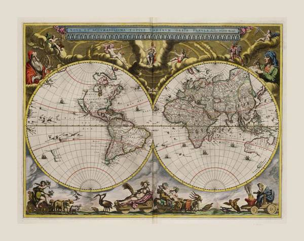 Wall Art - Drawing - World Map 1664 Ad With Small Matching Border by L Brown