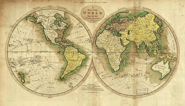 Hemisphere Wall Art - Photograph - World Map And Cook's Routes by Library Of Congress/science Photo Library