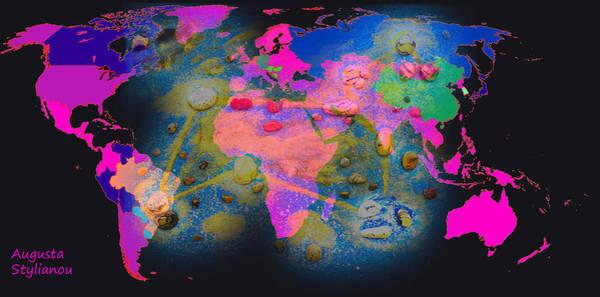 Digital Art - World Map And Leo Constellation by Augusta Stylianou