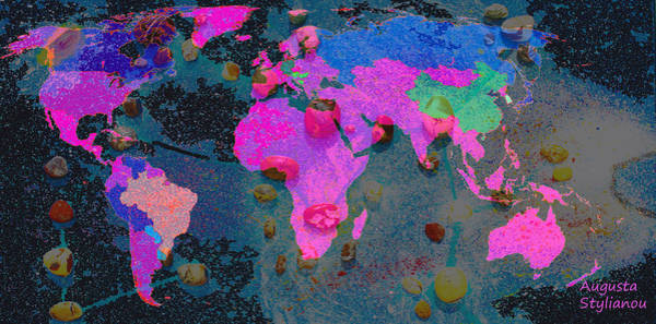 Digital Art - World Map And Sagittarius Constellation by Augusta Stylianou
