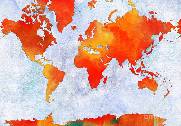 Digital Art - World Map - Citrus Passion - Abstract - Digital Painting 2 by Andee Design