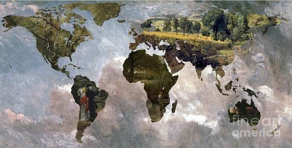 Pier Digital Art - World Map  Constable  by John Clark