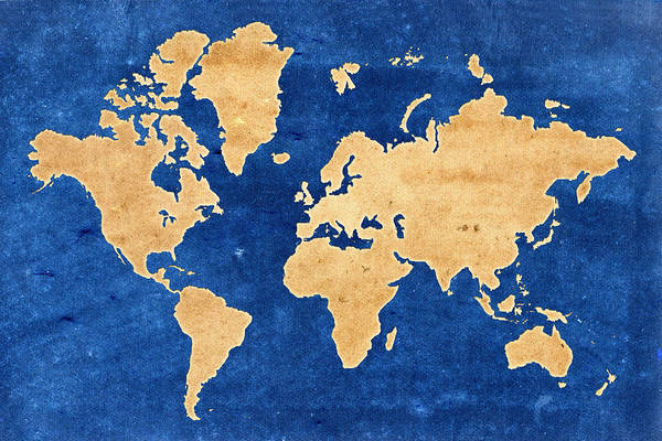 Photograph - World Map Grunge by Andrew Fare