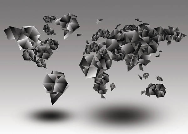 Cube Painting - World Map In Geometic Gray  by Bekim M