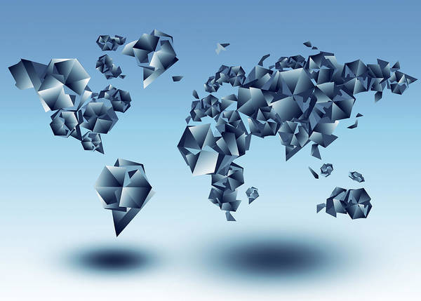 Cube Painting - World Map In Geometic Light Blue  by Bekim M