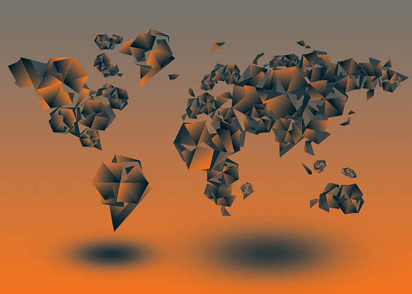 Cube Painting - World Map In Geometric Orange by Bekim M