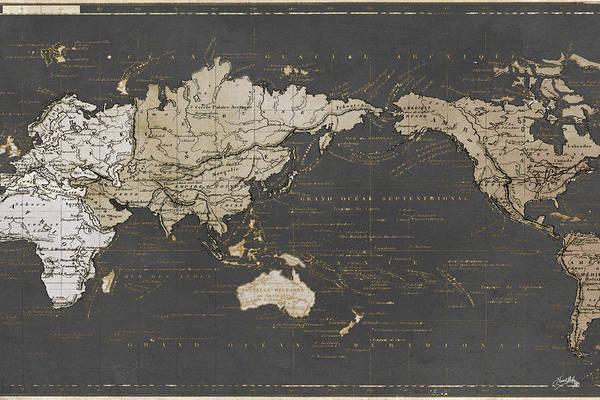 Wall Art - Digital Art - World Map In Gold And Gray by Elizabeth Medley