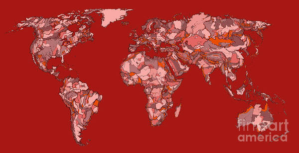 Bold Drawing - World Map In Vivid Red by Adendorff Design