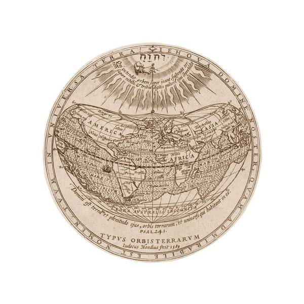 Psalms Photograph - World Map by Library Of Congress, Geography And Map Division/science Photo Library