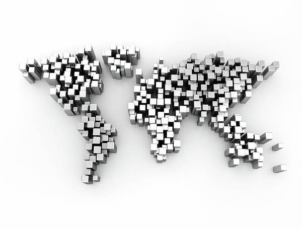 Wall Art - Photograph - World Map Made Up Of Cubes by Jesper Klausen / Science Photo Library