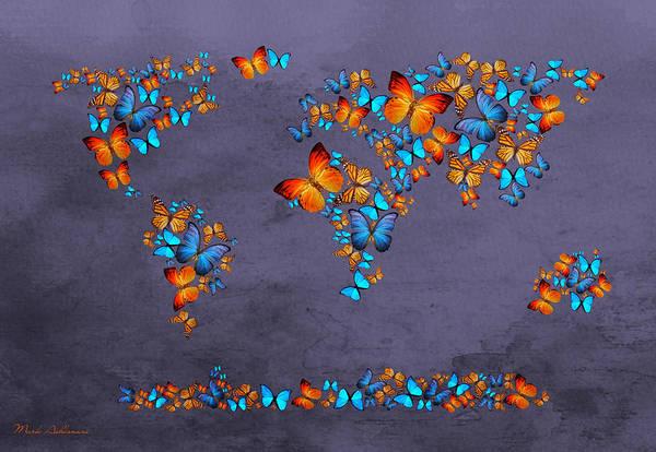 Work Of Art Digital Art - World Map  by Mark Ashkenazi