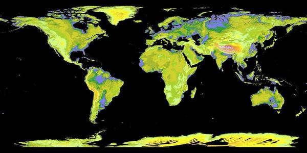 Photograph - World Map by Nasa Jpl
