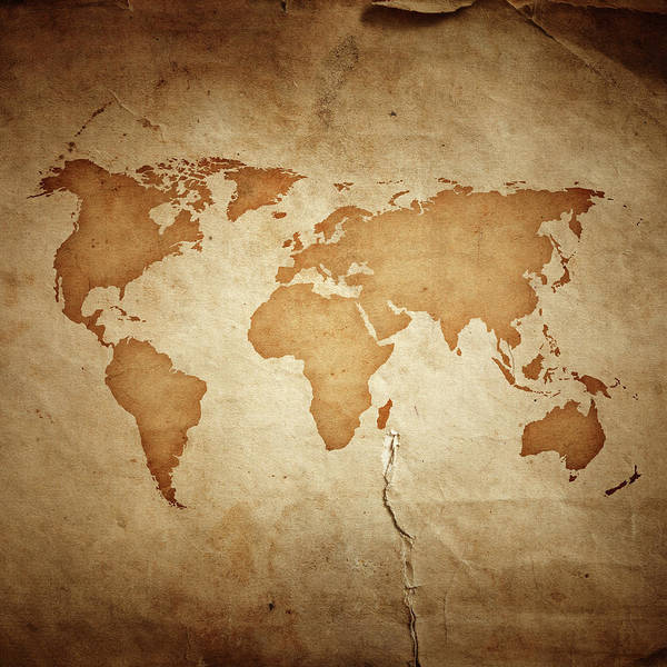 Usa Map Photograph - World Map On Aged Paper Texture by Sankai