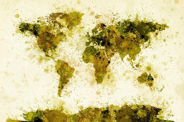 Countries Of The World Wall Art - Digital Art - World Map Paint Splashes Yellow by Michael Tompsett