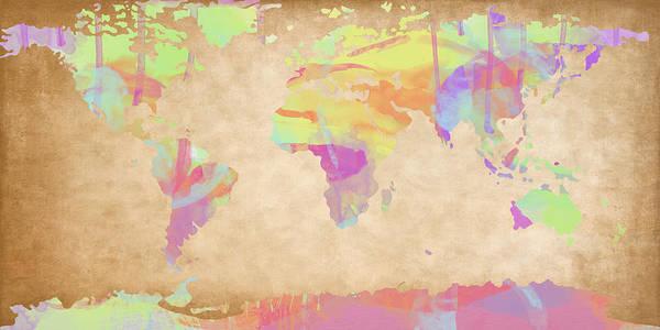 Digital Art - World Map Pastel Watercolors by Paulette B Wright