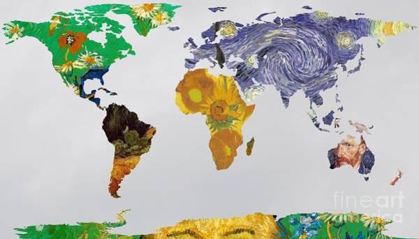 Cypress Digital Art - World Map Van Gogh 3 by John Clark