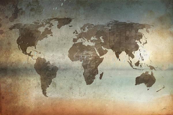 Digital Art - World Map - Watercolor Dirt by Paulette B Wright