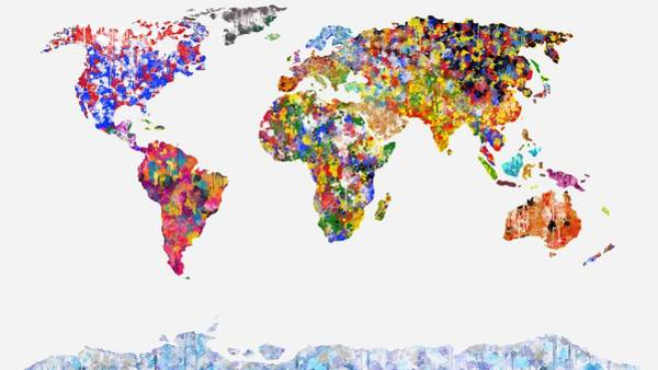 Digital Art - World Of Colour On White by Mark Taylor