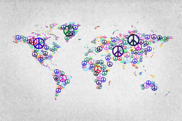 Peace Sign Mixed Media - World Peace Map by Aged Pixel