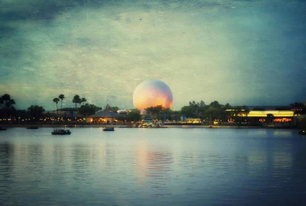 Wall Art - Photograph - World Showcase Lagoon Disney World During Sundown Textured Sky by Thomas Woolworth