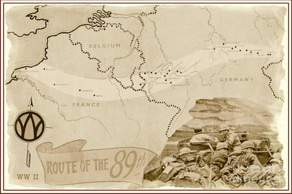 World War Ii Mixed Media - World War I I Map Route Of The 89th by Marilyn Smith