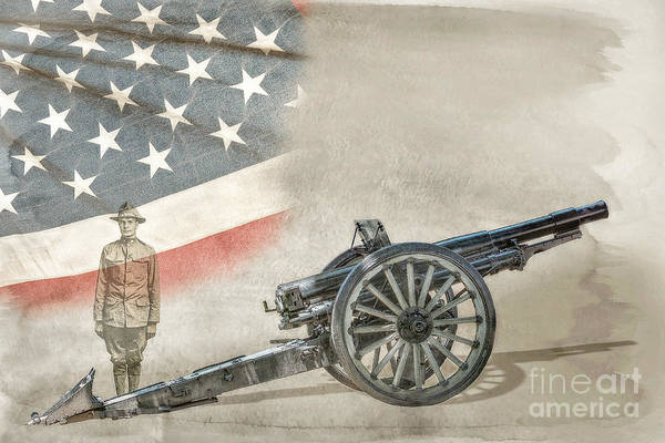 Artillery Digital Art - World War I Soldier And Cannon by Randy Steele