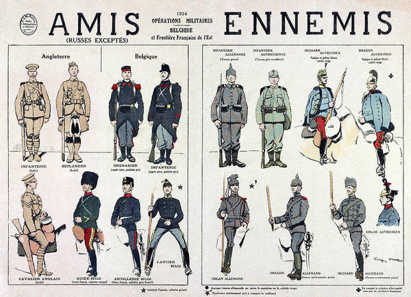 Wall Art - Drawing - World War I Uniforms by Granger
