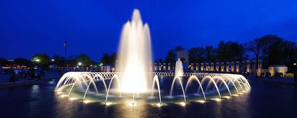 Photograph - World War II Memorial Fountain Panorama In Washington Dc by Songquan Deng