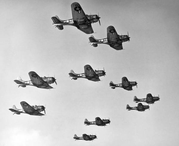 Photograph - World War II - U.s. Bombers by Granger