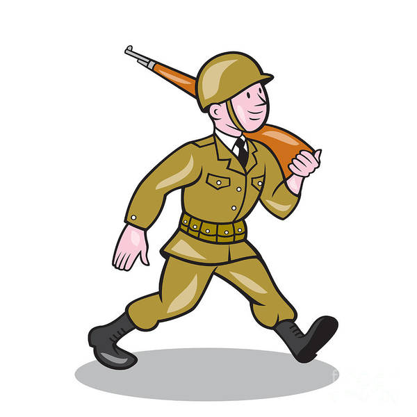 Assault Weapons Digital Art - World War Two Soldier American Cartoon Isolated by Aloysius Patrimonio