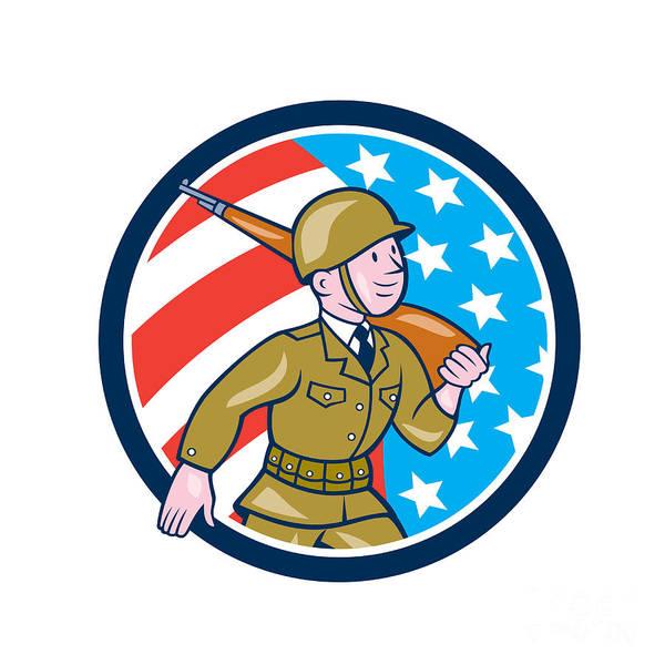 Assault Weapons Digital Art - World War Two Soldier American Marching Cartoon Circle by Aloysius Patrimonio