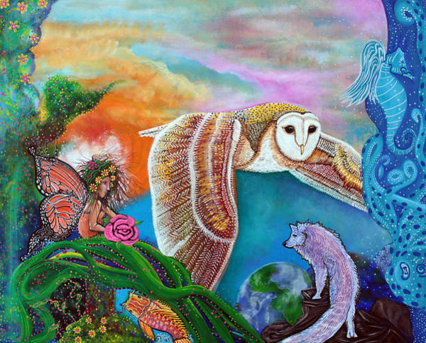 Barn Owl Painting - Worlds Away by Laura Barbosa