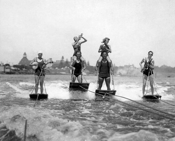 Watersports Photograph - World's Only Aquaplane Band by Underwood Archives