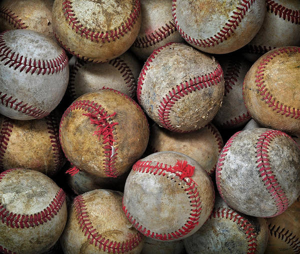 Cowhide Wall Art - Photograph - Worn Baseballs by GALLERY Fifty Three