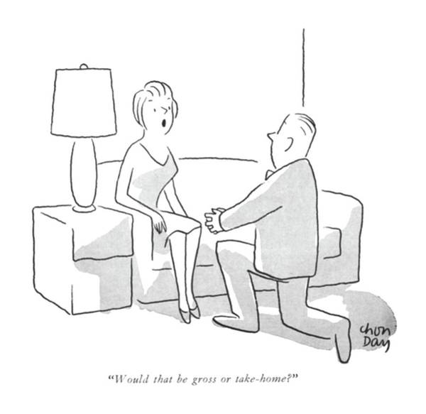 Marriage Proposal Drawing - Would That Be Gross Or Take-home? by Chon Day