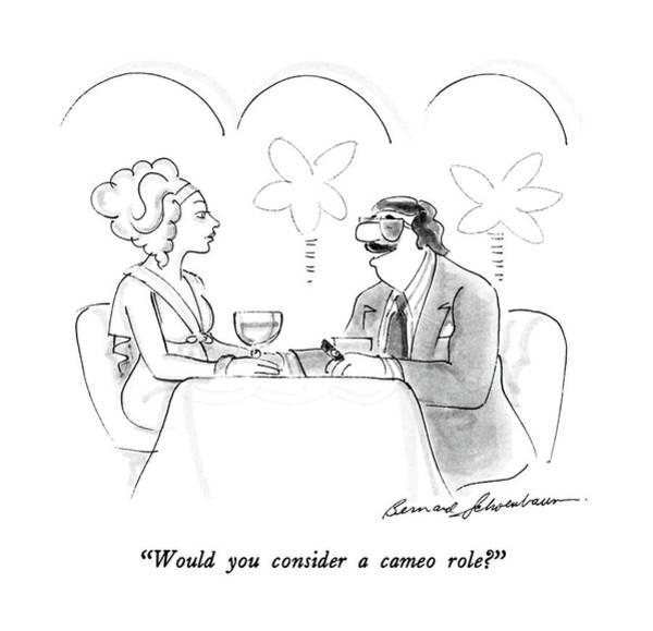 Wine Drawing - Would You Consider A Cameo Role? by Bernard Schoenbaum