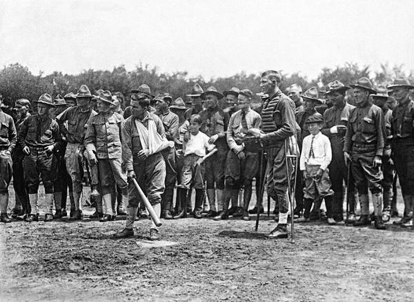 Photograph - Wounded Soldiers Play Ball by Underwood Archives
